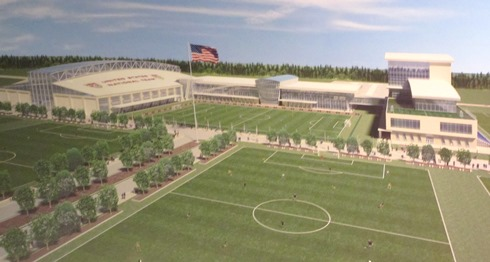 An artist's drawing of a new national soccer training facility was on display at a news conference  July 23 in Kansas City, Kan.