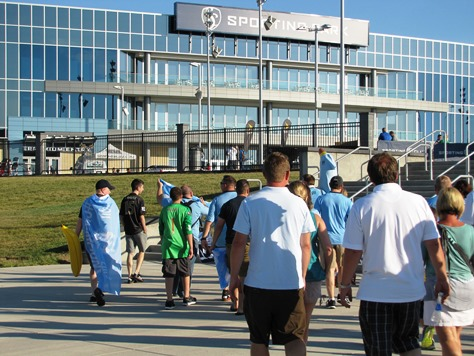 Fans walked to the Sporting Kansas City soccer match July 23 at Sporting Park, Kansas City, Kan. (Staff photo)