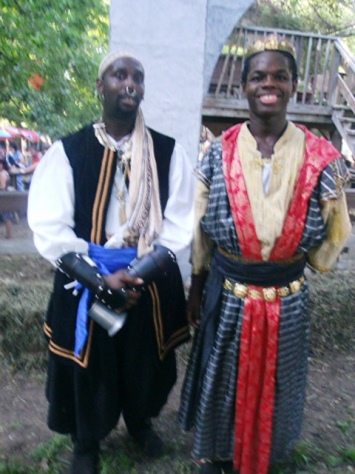 Pernell Thomas, left, of Kansas City, Kan., plays a body guard and Jasper Hudgens-Bradley, right, plays a prince this year at the Renaissance Festival in Bonner Springs. (Photo by William Crum)