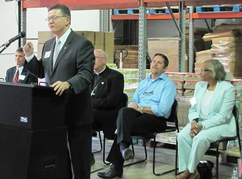 The new distribution facility, off Highway 69 between I-70 and I-35, will be strategically located to serve the Catholic Charities food pantries throughout the area, said Craig Gaffney, board chair of Catholic Charities Foundation of Northeast Kansas. (Staff photo)