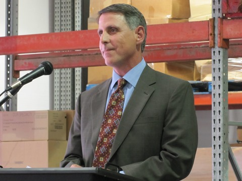 Ken Williams, president and CEO of Catholic Charities of Northeast Kansas, said the new distribution center and improvements will mean more food for the poor served by the agency. (Staff photo)