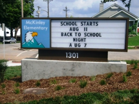 Students attended school in a new McKinley Elementary building for the first time today, as school started in the Kansas City, Kan., Public Schools. The new McKinley Elementary School, 1301 Armstrong, is between Ann and Armstrong avenues between North 13th and 14th streets. The one-story building measures 42,000-square feet and has 15 classrooms, a media center, computer lab, music room, art room and multi-purpose room. It is on 2.43 acres, and it replaces the former McKinley School at 611 N. 14th St. (Photo by William Crum)