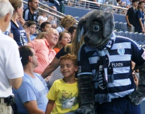 Sporting KC mascot Blue visited with fans during Friday's match in Kansas City, Kan. (Photo by William Crum)