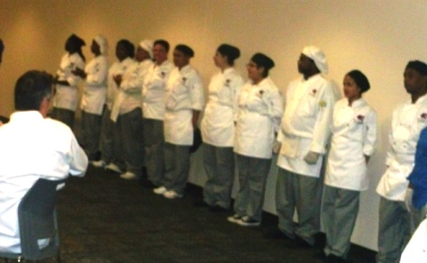Culinary students lined up at a recent visit from the Chefs Association to KCKCC TEC. (Photo by William Crum)