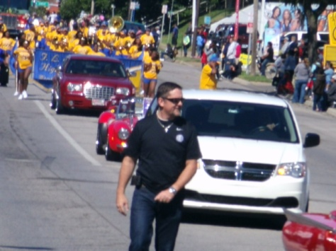 Mayor Mark Holland led the Central Avenue Parade today in Kansas City, Kan. (Photo by William Crum)
