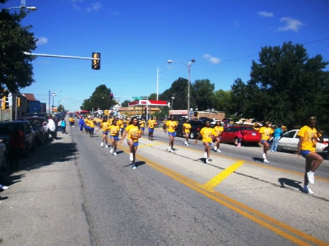 The Schlagle High School marching band participated in today's Central Avenue parade. (Photo by William Crum)