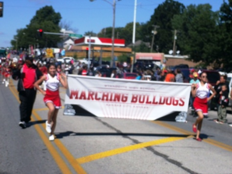 Wyandotte High School participated in the Central Avenue parade today. (Photo by William Crum)