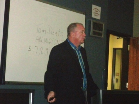Detective Jim Bauer gave a presentation on terrorism to residents attending a class recently. (Photo by William Crum)