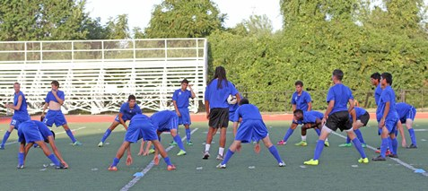 Kansas City Kansas Community College's 24-man soccer team, the biggest in college history, will kick off the 2014 season Thursday, Sept. 4, with the Lady Blue Devils playing host to Coffeyville at 5 p.m. with the men following at 7 p.m. (KCKCC photo)