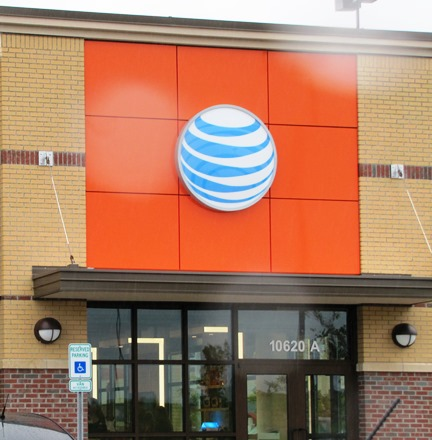The new AT&T store at 106th and Parallel Parkway is on the west side of a new building. On the east side is a Starbucks shop. (Staff photo)
