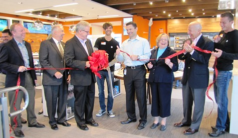 "A ribbon-cutting was held at the new AT&T store in Kansas City, Kan.  It is AT&T's first ""Store of the Future"" in Kansas. (Staff photo)"