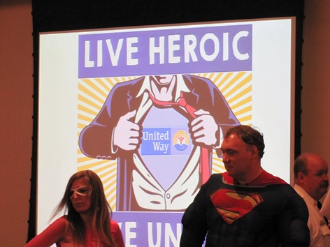 """Superheroes were featured at today's United Way of Wyandotte County campaign launch as the theme was """"Live Heroic, Live United."""" (Staff photo)"""