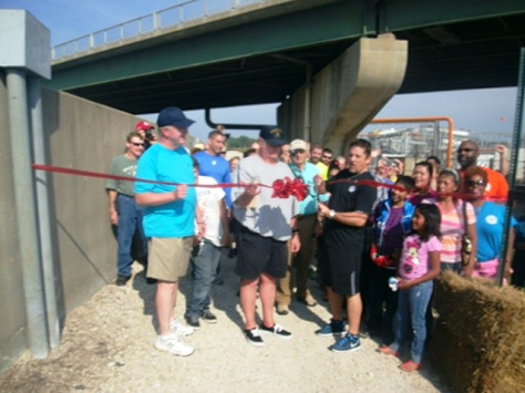 A new hike and bike trail opened Saturday, Sept. 20, on the levee just west of 18th and Kansas Avenue in Kansas City, Kan. A ribbon-cutting ceremony was held. (Photo by William Crum)