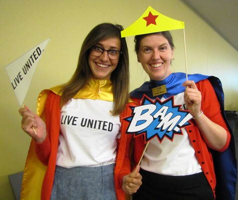 Jill Stevens, left, an intern for United Way of Wyandotte County, and Emily Worm, director of the RSVP program for the United Way of Wyandotte County, were ready for the campaign launch today. (Staff photo)