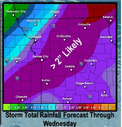 Rain forecast through Wednesday. (National Weather Service graphic)