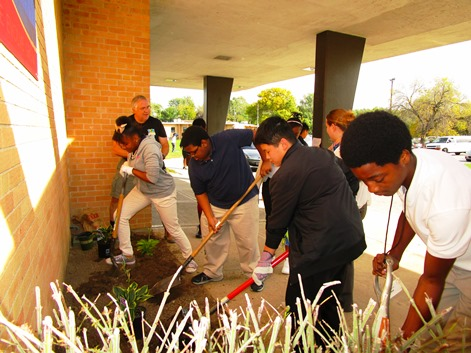West Middle School students participated in a Rotary Club beautification effort recently. (Photo from Rotary Club)