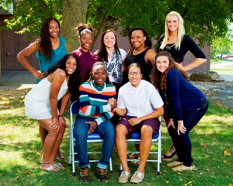 KCKCC's basketball fortunes for 2014-15 will be built around the veteran sophomore leadership of, front row, from left, Rashaun Casey, Cierra Gaines, Eirenei Alesana and Cassidy Harbert; second row, Janai Mitchell, Erin Anderson, Alyson Weber, Iland Shurn and Julia Garrard. (KCKCC photo by Mark Greathouse)