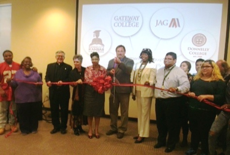 A ribbon-cutting was held Oct. 1 at Donnelly College for a new program that will help students obtain high school and college degrees. (Photo by William Crum)