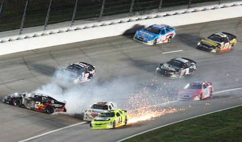 Sparks flew on Friday in more than one accident at the Kansas Speedway ARCA race.  Frank Kimmel, No. 44, created a lot of sparks in this wreck. (Fan photo)