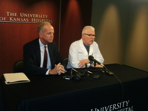 U.S. Sen. Jerry Moran, left, and Dr. Lee Norman talked about Ebola, and how it is being handled, today at the University of Kansas Hospital in Kansas City, Kan. (Photo by William Crum)
