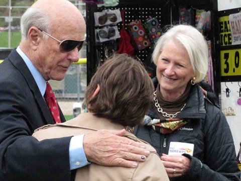 U.S. Sen. Pat Roberts, left, visited with voters at Turner Days on Sunday, Oct. 12, at Steineger Field, 59th and Metropolitan, Kansas City, Kan. (Photo by Mary Rupert)