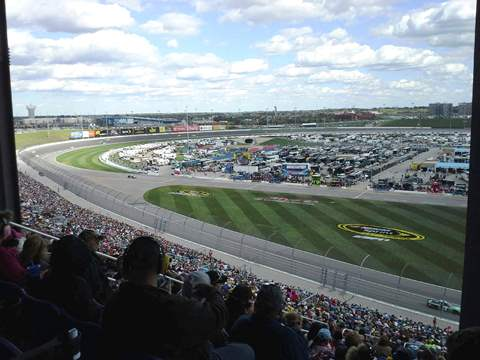 Racing action Sunday from the Sprint Cup series race at Kansas Speedway in Kansas City, Kan. (Fan photo)