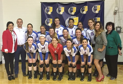There were smiles around as KCKCC won its final three games in the national volleyball tourney with a squad of front row, from left, Lily Cullers, Lexi Nick, Andrea Aparicio, Janelle Fowler and Kimberly Martinez; second row, assistant coaches Paloma Juarez and Cory Roberts, Carlyn Walsh, Kailee Dudley, Allyssa Lutgen, Blair Russell and Lily Thornberg; third row, Peyton Pender, Cecelia Augustine, Jasdel Gonzalez, Junelie Irizarry, head coach Mary Bruno and assistant Dee Bruno. (KCKCC photo)