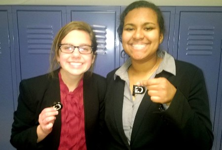 The Piper team of Caitlin O'Mara and Ariana Williams placed second in debate at Basehor. Williams qualified for state competition. (Piper photo)
