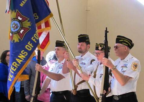 The colors were posted by VFW Post No. 6401 at the annual Wyandotte County Veterans Day celebration Nov. 8 at the Salvation Army Harbor Light Village, Kansas City, Kan. (Staff photo by Mary Rupert)
