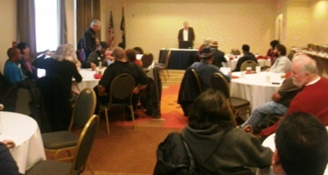 Despite a winter weather advisory, a Wyandotte County Democratic meeting Saturday morning was well attended. (Photo by William Crum)