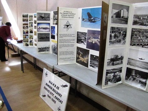 The Wyandotte County Museum sponsored a display of World War II and Korean War photos at the annual Wyandotte County Veterans Day commemoration Nov. 8 at the Salvation Army Harbor Light Village, Kansas City, Kan.  The displays included information about a World War II bomber plant in Kansas City, Kan. (Staff photo)