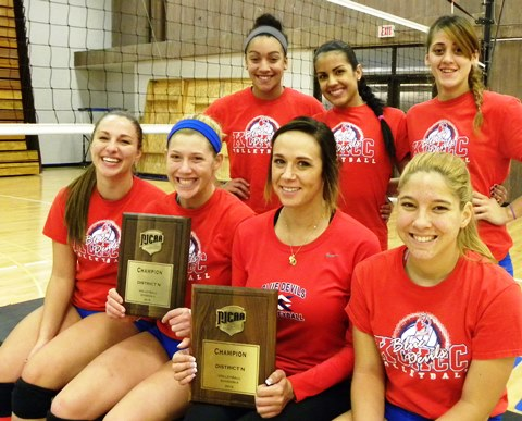 KCKCC dominated the 2014 All-Jayhawk volleyball team as front row, from left, Lily Thornberg was co-setter of the year, Blair Russell most valuable, Mary Bruno co-coach of the year, and Andrea Aparico Libero of the year. They were joined by second row, Kailee Dudley, first team; Jasdel Gonzalez, second team; and Junelie Irizarry, honorable mention. (KCKCC photo by Alan Hoskins)
