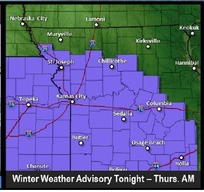 Winter weather advisory tonight through Thursday morning. (National Weather Service graphic)