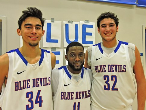 Career high performances by, from left, C.J. Vallejo (37 points), Ray Ridley (15 assists) and Joe Lendway (31 points) led KCKCC to one its best performances of the season Tuesday, an 87-76 win over Wentworth Military Academy. (KCKCC photo by Alan Hoskins)