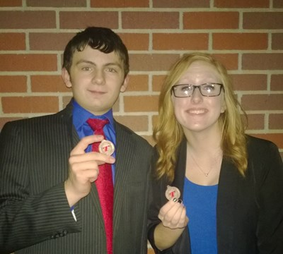 Gripp/Wenzl (4-1, 23)  - 8th Place,  Nolan Gripp and Audrey Wenzl both qualified for State Competition. (Piper photo)