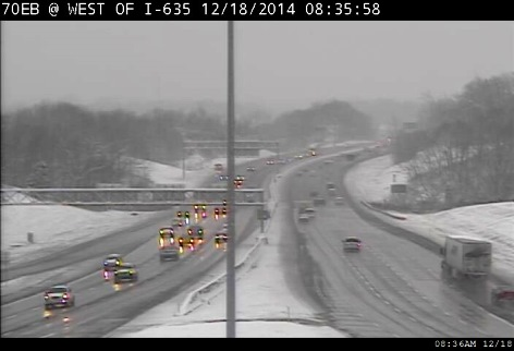 Motorists made their way to work this morning at I-70 near I-635 in Wyandotte County. (KC Scout photo)