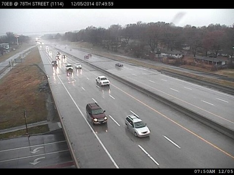 Motorists faced wet pavement on their way to work on I-70 near 78th in Kansas City, Kan., on Friday morning. (KC Scout photo)