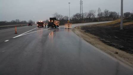 Barricades were removed this morning on an I-70 ramp at K-7. (KDOT photo)