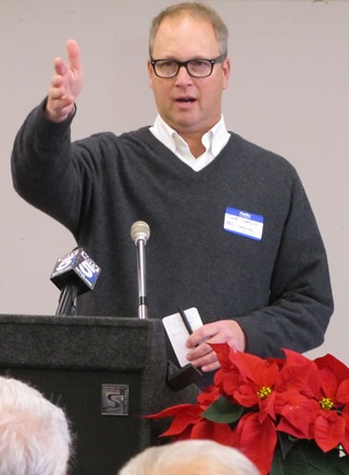 """Dave Claflin of RED Legacy linked the redevelopment of Wyandotte Plaza to The Legends development a decade ago. """"This is the payoff. This investment is starting to trickle back east."""" (Staff photo by Mary Rupert)"""