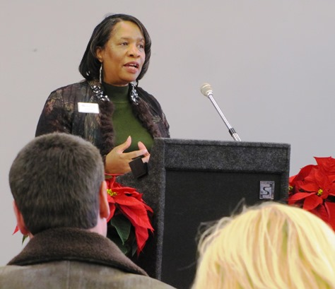 Marisa Gray, president of Business West, welcomed new tenants to Wyandotte Plaza. (Staff photo by Mary Rupert)