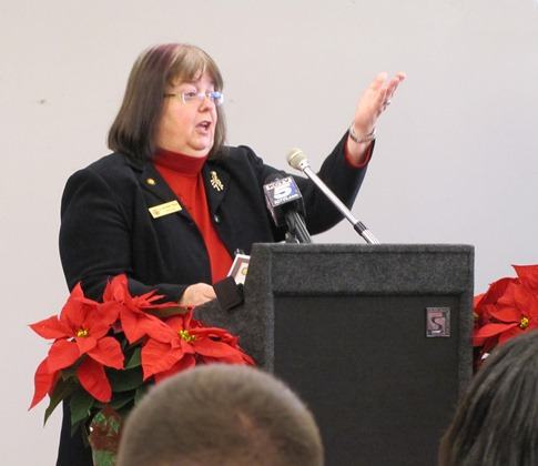 Commissioner Jane Philbrook, the president-elect of Business West, said that bringing business eastward toward the downtown Kansas City, Kan., area is one of the goals of these projects. (Staff photo)