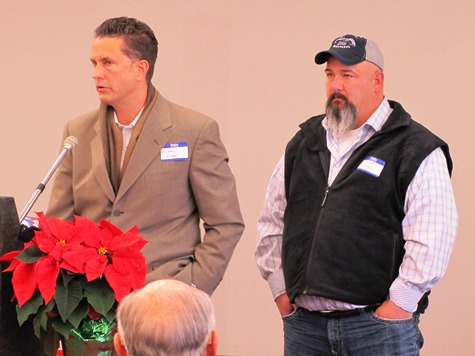 Richard Napper, left, of EPR, and Chuck Stites, director of development of the Schlitterbahn, also spoke at the meeting. (Staff photo by Mary Rupert)