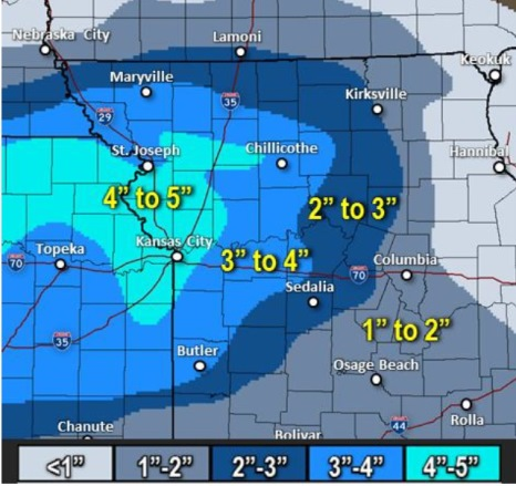 Estimated snow totals for Wednesday night and Thursday. (National Weather Service graphic)