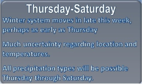 Thursday through Saturday forecast (National Weather Service graphic)