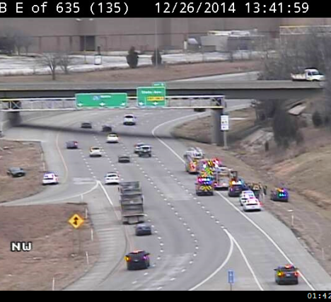 KC Scout reported that emergency vehicles were on I-635 northbound past I-70. Traffic had slowed in the area about 1:30 p.m. Dec. 26, according to KC Scout. (KC Scout photo)