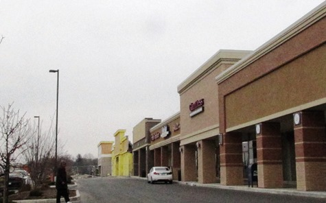 The existing strip mall at Wyandotte Plaza received a new facade in the improvements. (Staff photo)