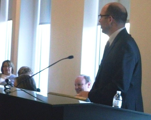 UG Administrator Doug Bach spoke at the Downtown Shareholders meeting Friday in Kansas City, Kan. (Photo by William Crum)