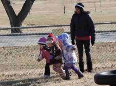 Staff at the KCKCC Campus Childcare Center spend part of each day with students engaged in active playtime. This includes time outside or inside doing activities such as movement exercises or dancing. (KCKCC photo)