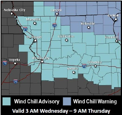 A wind chill advisory starts 3 a.m. Wednesday and lasts until 9 a.m. Thursday. (National Weather Service graphic)