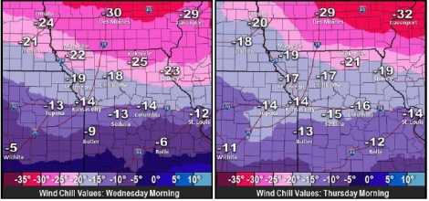 Wind chills Wednesday morning, left, and Thursday morning, right. (National Weather Service graphic)